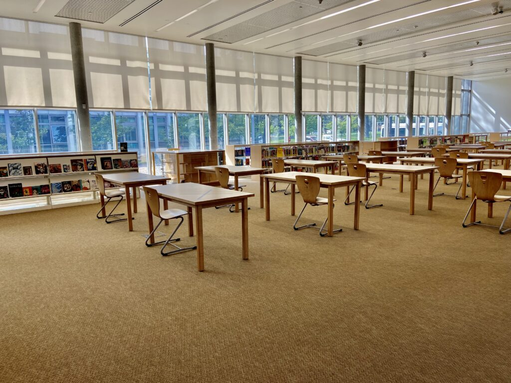A photograph of the interior of the Nathan Hale library.
